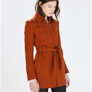 Zara Woman Red/Orange brick color Coat